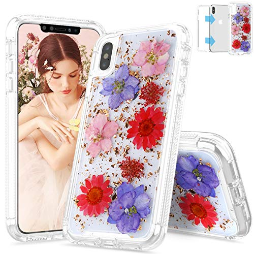 iPhone Xs Max Case, SEYMAC Real Dried Flower Dual Layer Protection Rugged Bumper Girls Women Case for iPhone Xs Max 6.5