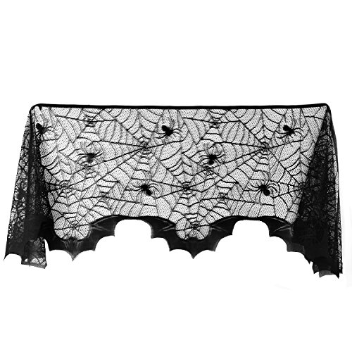 (Satkago Black Lace Spiderweb Fireplace Mantle Scarf Cover Festive Party Supplies 20 x 80)