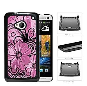 Pretty Floral Abstract Art (PINK) HTC one M7 Hard Snap on Plastic Cell Phone Cover wangjiang maoyi