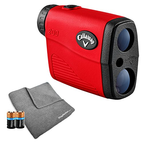 Callaway 200 (Red) Golf Rangefinder Bundle | Includes Ultra-Compact Golf Laser Rangefinder, PlayBetter Microfiber Towel and Two (2) CR2 Batteries