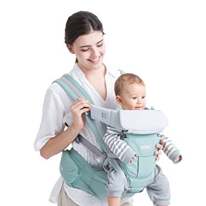 Dark Blue Bebamour Baby Soft Front and Back Carriers for 3-12 Months Old 3 Carry Ways Baby Wrap Carrier for Travelling Ergonomic Design