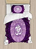 Ambesonne Chakra Duvet Cover Set Twin Size, Circular Lace Like Point Form with Arabic Lettering the in Node Centre Meditation Image, Decorative 2 Piece Bedding Set with 1 Pillow Sham, Purple