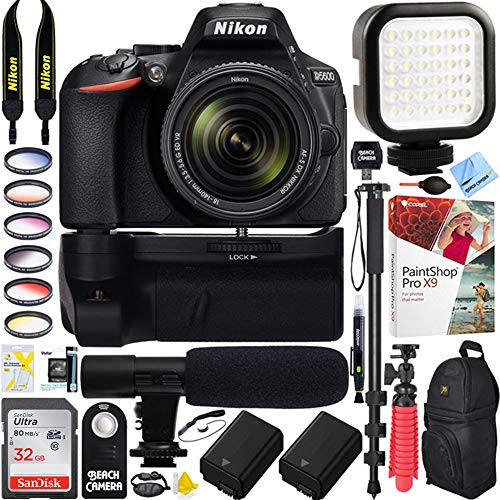 Nikon D5600 24.2 MP DX-Format DSLR Camera w/AF-S 18-140mm f/3.5-5.6G ED VR Lens Kit Bundle with 32GB Memory Card, Microphone, Camera Backpack, Battery and Accessories (16 Items)
