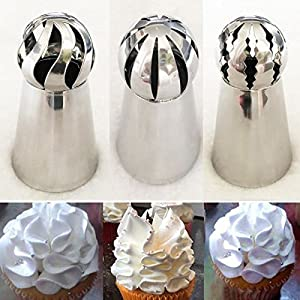 9Snail 3 pcs Cake Decorating Supplies New Sphere Ball Tips Russian Icing  Piping Nozzles Tips Pastry Cupcake b6b05acda0e5