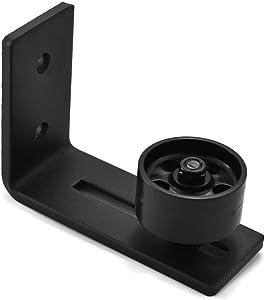 Black Barn Door Bottom Floor Guide Adjustable Roller Powder Coated Stay Roller - Flush to Floor