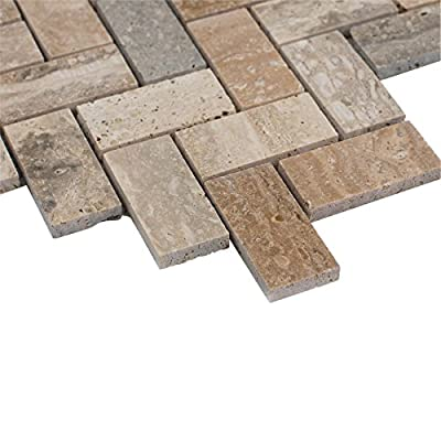 MAYKKE Sadie Mosaic Wall and Floor Tile, Travertine Marble, 10-Pack, YOA1050101