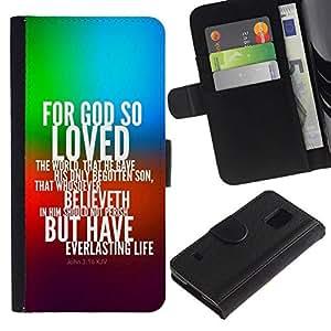 All Phone Most Case / Oferta Especial Cáscara Funda de cuero Monedero Cubierta de proteccion Caso / Wallet Case for Samsung Galaxy S5 V SM-G900 // BIBLE John 3:16 For God So Loved The World