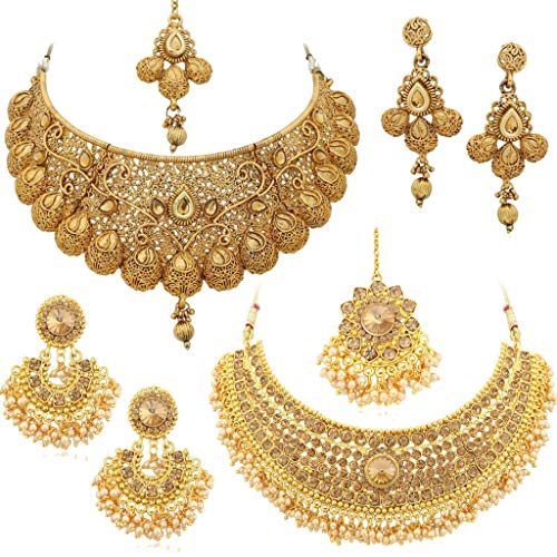 Sukkhi Glamorous LCT Gold Plated Wedding Jewellery Pearl Choker Necklace Set Combo For Women (CB73381_D2)