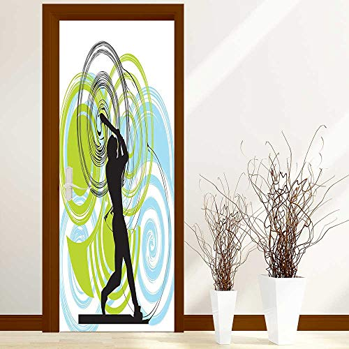 L-QN Modern Door Art Vinyl Decals Baseball Player Figure with Rounds and Circles on His Bat Wild Pitch Fast Wall Art Décor Sticker W36 x H79 inch