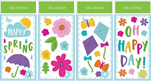 (Impact Innovations Spring Set H (4) Window Gel Clings, 5.5 x)