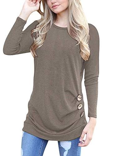MOLERANI Women's Casual Long Sleeve Round NEC Brown Basic T Shirt Blouse Tops Brown XL -