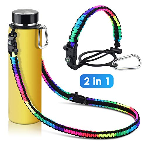 KATUMO Paracord Handle with Long Shoulder Strap for Hydro Flask Water Bottle Fits for 12oz - 64oz Wide Mouth Bottles for Hiking with Safety Ring, Fire Starter, Whistle, Compass and Carabiner (Rainbow)