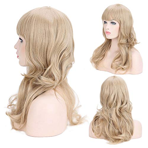 Long Wavy Wigs with Bangs Ash Blonde Body Wave Anime Cosplay Wig Synthetic Heat Resistance for Women Costume Party 19inch=48cm -