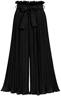 Womens Palazzo Lounge Pants Pleated Flowy Paper Bag Pant Tie Bow Solid Wide Leg Cropped Trousers Summer Casual Yoga Workout Capri Pants
