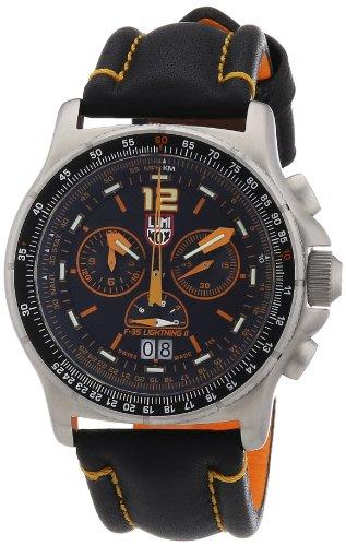 Luminox F-35 Lightning IiTM 9380 Black/Orange Leather Strap Black/ Orange Stitching - Luminox 9388