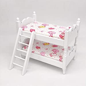 Wooden Nursery Room Decoration Dollhouse Furniture 1:12 Scale-Doll Bunk Bed with Ladder and Mattres for Dollhouse -Pink Gloves
