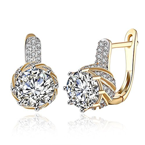 Anni Coco Champagne Gold Plated Cubic Zirconia Round Small CZ Hoop Earrings for Women Girls(Clear)