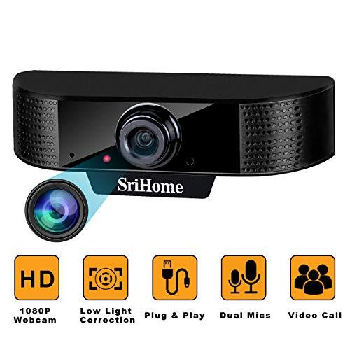🥇 ENONEO Cámara Web HD 1080p PC Webcam PC con Microfono y Enfoque Automático Camara Webcam Streaming USB 2.0/3.0 Enchufe & Jugar para Videollamadas