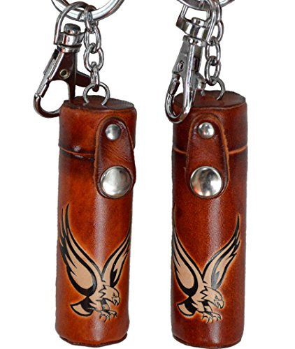 Price comparison product image A Pair of(2 Pieces) Leather keychain, ChapStick/ToothPick Holder, Giant Eagle or Giant Bull pattern, More Color (Giant Eagle - Brown)