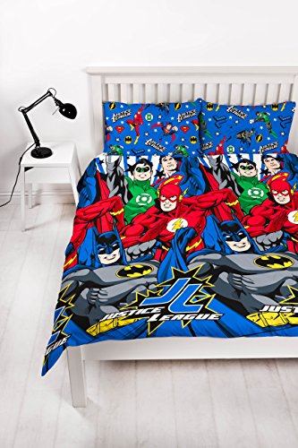 Justice League 'inseption' Double Duvet Set - Repeat Print Design by Justice League
