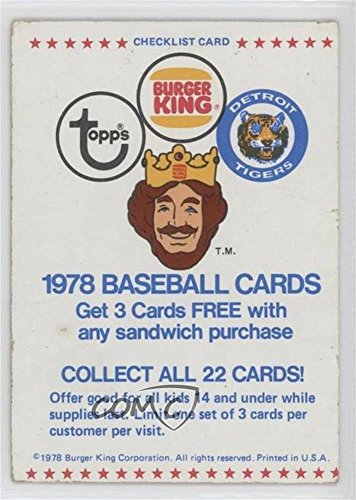 Checklist Ungraded COMC Poor to Fair (Baseball Card) 1978 Topps Burger King - Restaurant Detroit Tigers -