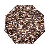 Jereee Military Camouflage Texture Compact Travel Umbrella, Outdoor Rain Sun Car Folding Umbrellas for Windproof, Reinforced Canopy, UV Protection, Ergonomic Handle, Auto Open/Close