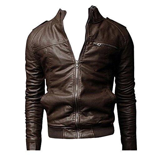 In Slim Artificiale Giacca Pelle Jacket Uomo Scuro Pu Cappotto Marrone Fit Cerniera Con Cappotti qwagptR