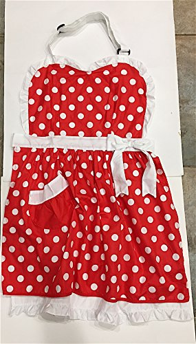 Disney Parks Minnie Mouse Full Chef Apron Red White Polka Dots Ruffles NEW