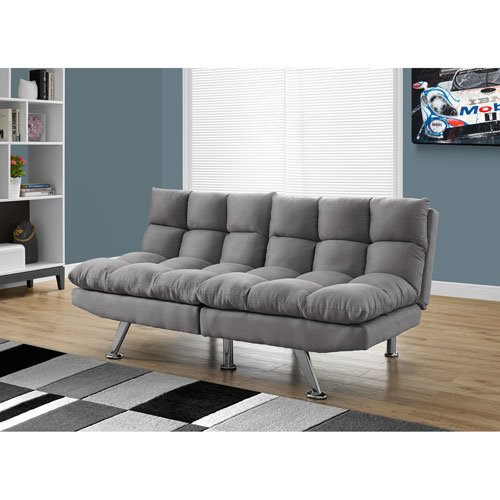 Hawthorne Ave Futon - Split Back Click Clack/Light Grey Micro-Suede by Hawthorne Ave