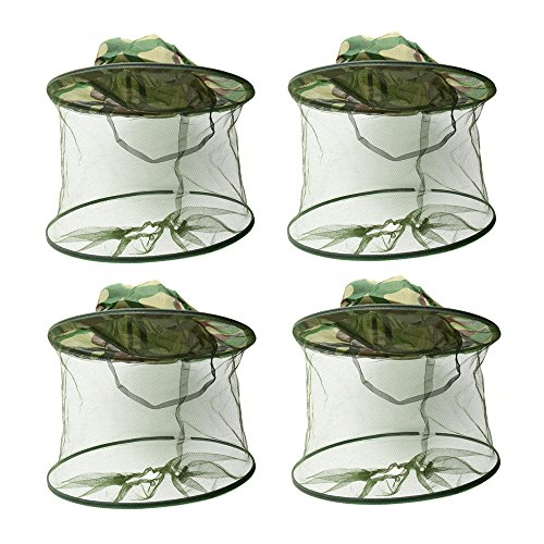 DINGJIN 4 Pack Anti-mosquito Mask Hat with Head Net Face Mesh Net Head Protecting Net Protective Cover Mask for Outdoor Fishing Forest Jungle,Green by DINGJIN