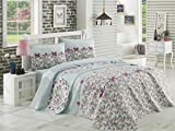 LaModaHome Luxury Soft Colored Bedroom Bedding 100% Cotton Double Coverlet (Pique) Thin Coverlet Summer/Ribbon Button Love Heart Rose Flower Nature Shape /