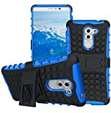Office Products : Honor 6X Case, Asstar [Shockproof] [Impact Protection] Tough Rugged Dual Layer Soft TPU Hard PC Full Body Protective Case with Kickstand for Huawei Honor 6X (Black+Blue)