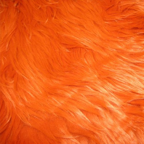 (Orange Shag Faux Fur Fabric 60