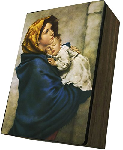 Catholic to the Max|Madonna of the Streets, 4x6.5x2.5in Wooden Keepsake Rosary Jewelry Box, Suede Matte by Catholic to the Max