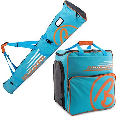 BRUBAKER Champion Combo - Limited Edition - Ski Boot Bag and Ski Bag for 1 Pair of Ski up to 170 cm, Poles, Boots and Helmet - Blue Orange