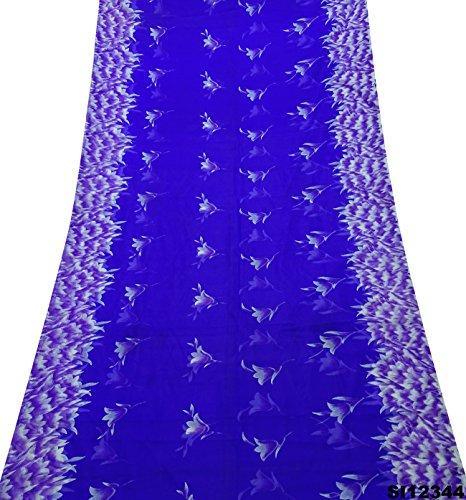 Indian Women Saree Blue Floral Printed Crimp Silk Fabric Vintage Sarong Dress Sari