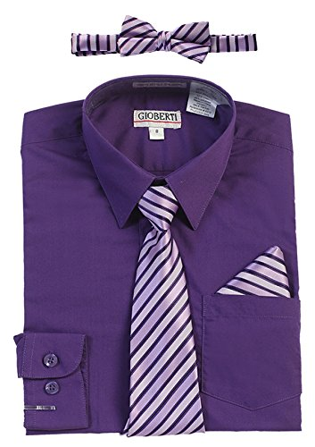 Boys Purple Dress Shirt - Gioberti Boy's Long Sleeve Dress Shirt + Stripe Zippered Tie Set, Purple B, Size 8