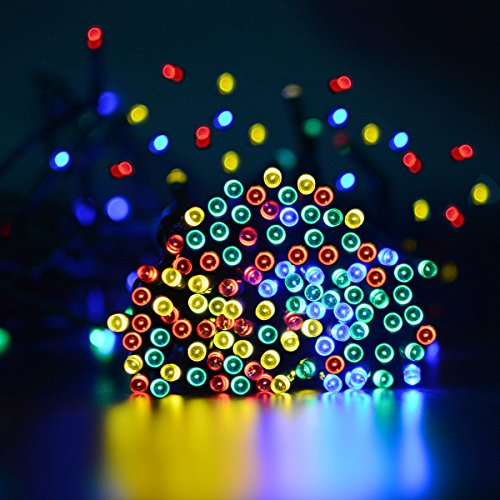 VMANOO Solar Christmas Lights 72ft 22m 200 LED 8 Modes Solar Fairy String Lights for Outdoor, Gardens, Homes, Wedding, Christmas Party, Waterproof (Multi-color)