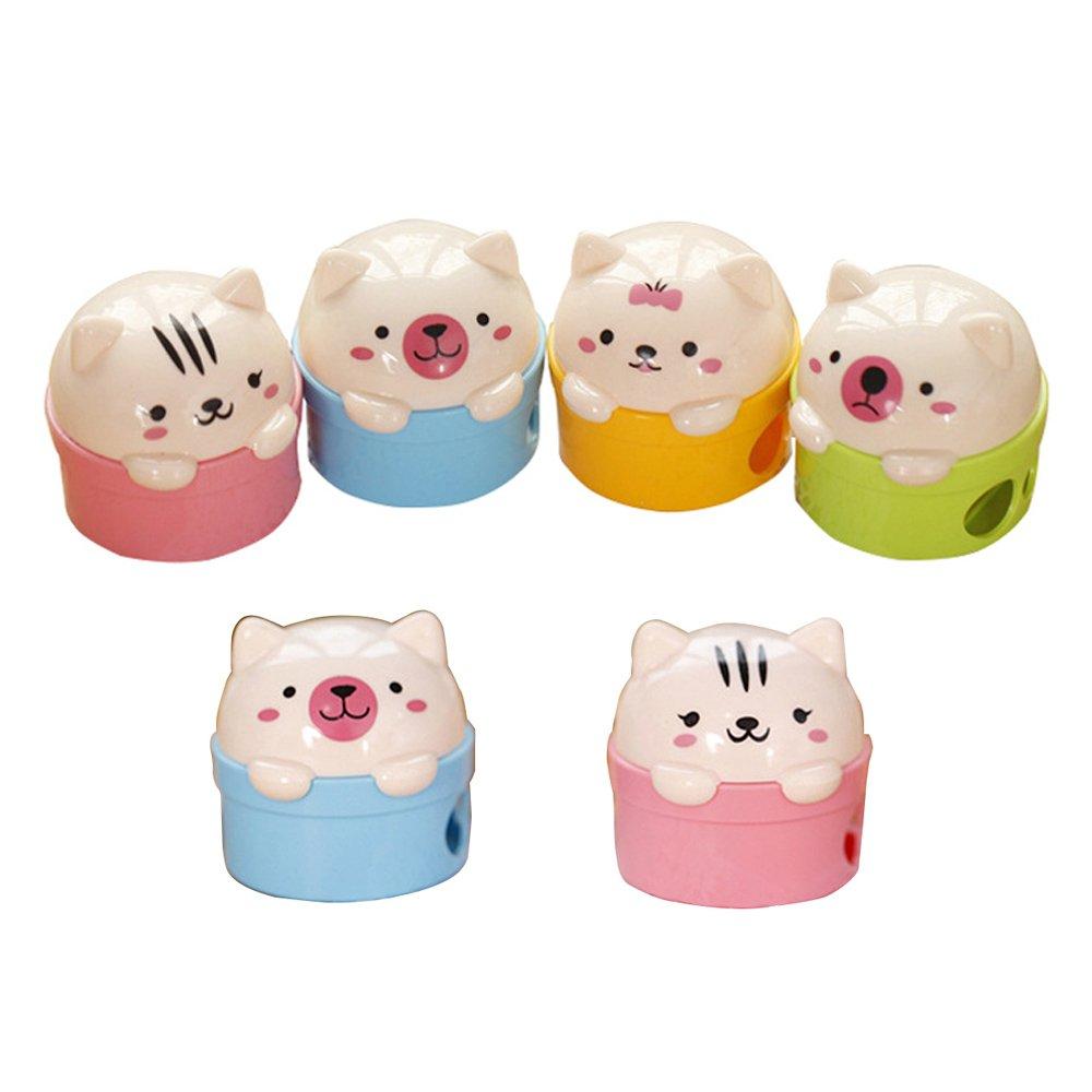 6 Pz Bulk adorabile Carino Arto superiore animale Manuale doppio foro temperamatite con la copertura per i bambini-Cat Orso Daptsy