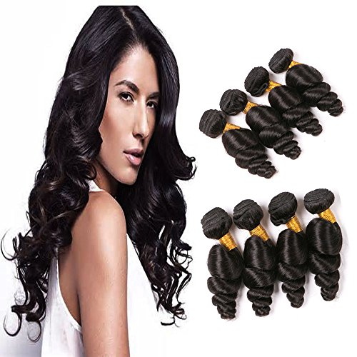 (Brazilian Virgin Hair 4 Bundles Loose Wave Curly Human Hair 8a 14 16 18 20 Inch Mink Loose Wave Virgin Hair Bundle Extension Good Quality Wholesale Sew In Unprocessed Remy Hair Natural Color 100g/pcs)