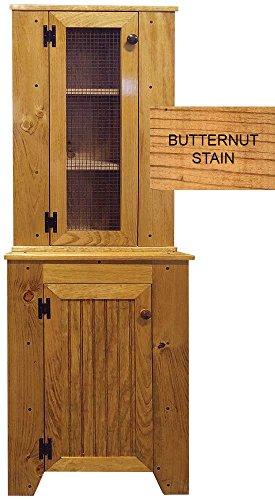Pine Large Corner Hutch - Corner Cabinet Set (Butternut Stain)