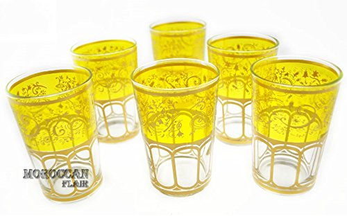 Moroccan Meknes Yellow Tea Glasses