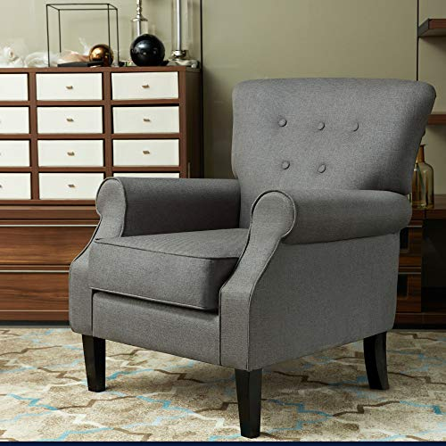LOKATSE HOME Accent Arm Chair Mid Century Upholstered Single Sofa Modern Comfortable Furniture Pine Wood legs for Living Room, Club, Bedroom, Dark Grey (Small Club Chairs Upholstered)