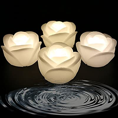 Acmee (Pack of 4) Warm White Color Flameless Wax LED Water Floating Rose Candle Light for Wedding or Event Decoration./LED Floating Candle Light in Flower Shape (Warm White): Home & Kitchen