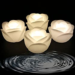 Acmee (Pack of 4) Warm White Color Flameless Wax LED Water Floating Rose Candle Light for Wedding or Event Decoration./LED Floating Candle Light in Flower shape (Warm white)