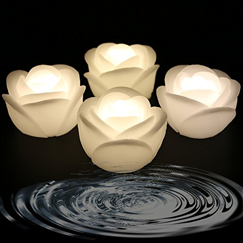 Acmee (Pack of 4) Warm White Color Flameless Wax LED Water Floating Rose Candle Light for Wedding or Event Decoration./LED Floating Candle Light in Flower shape (Warm -