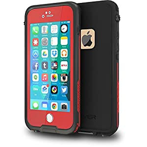 "CellEver iPhone 6 / 6s Case Waterproof Shockproof IP68 Certified SandProof SnowProof Full Body Protective Cover Fits Apple iPhone 6 and iPhone 6s (4.7"") - Red / Black"
