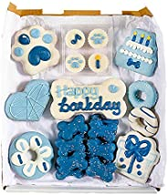 Wüfers Dog Birthday Boy Dog Cookie Box | Handmade Hand-Decorated Dog Treats | Dog Gift Box Made with Locally S