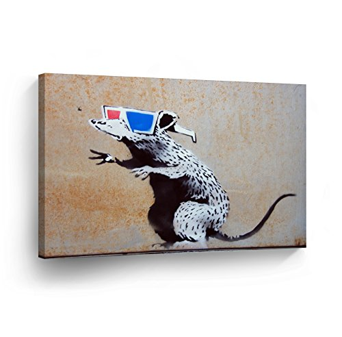 BANKSY CANVAS PRINT Rat with 3D Glasses Banksy Wall Art Home Decor Decorative Artwork Gallery Wrapped Wood Stretched Ready to Hang %100 Handmade in the USA 15x22