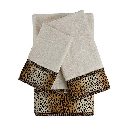 3 Piece Ecru Embellished Towel Set With 25 X 48 Inches Bath
